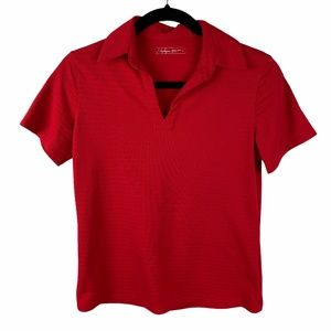 Lady Hagen Collared Polo Top Size Small Red S/S